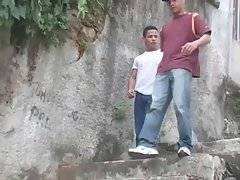 Two hot young Latin friends hang out, looking for place to fuck.