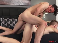 Ass in the air, Richie gets fucked hard, taking Bobby's full length and then climbing on top of him to ride his member as Bobby lies back and watches him work, Richie's dick slapping against Bobby's stomach as he grinds his hips against him. When Bobby wa