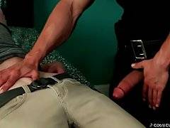 Cody frees his dick and pushes Max`s head down to let him taste it.